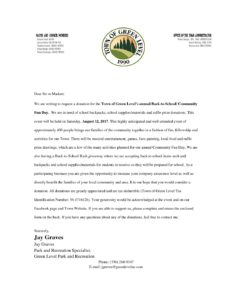 Donations sponsor letter for community fun day town of green level town news thecheapjerseys Image collections
