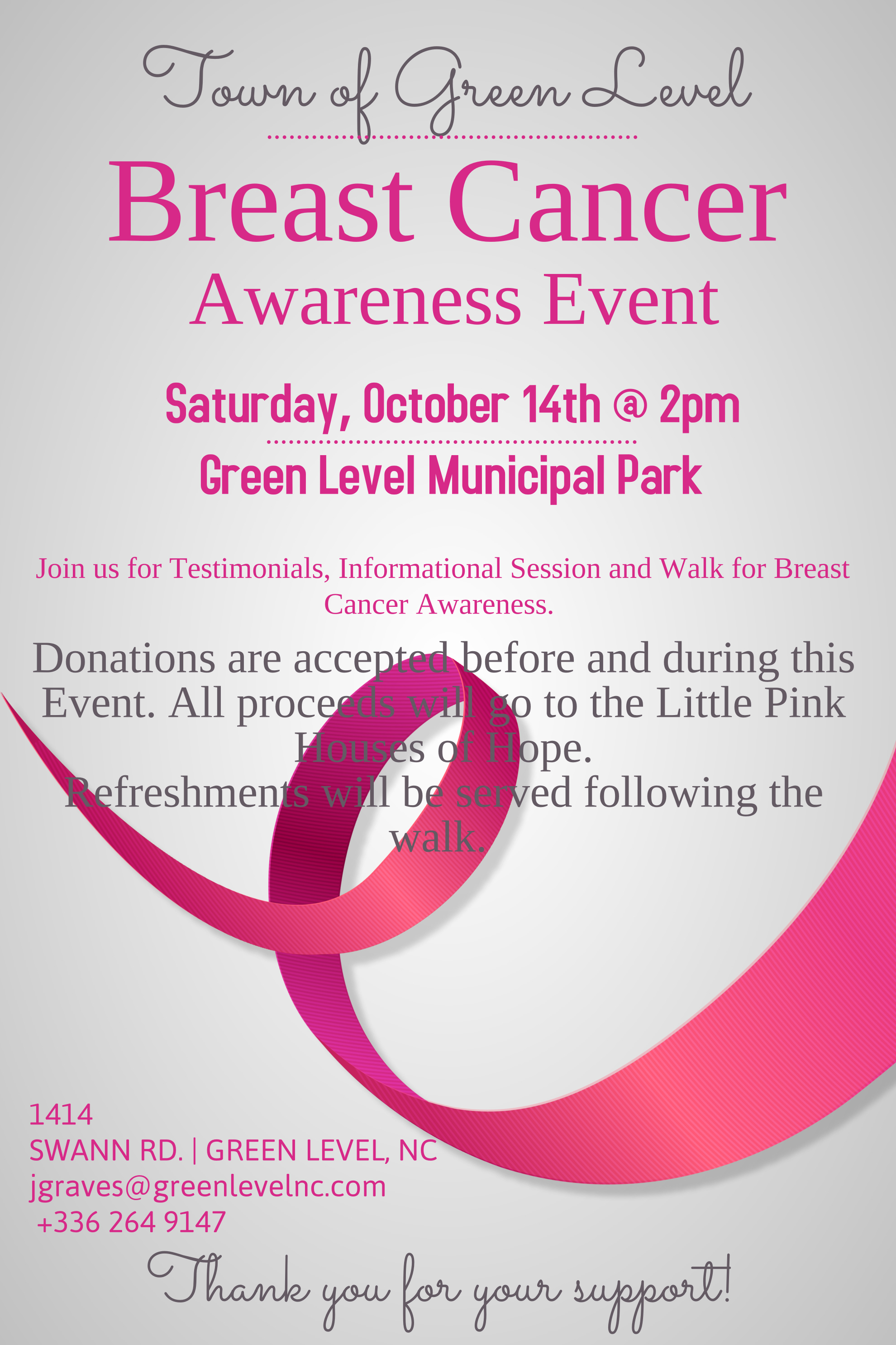 Breast Cancer Awareness Event Town Of Green Level North